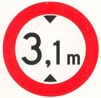 Gesloten voor voertuigen die, met inbegrip van de lading, hoger zijn dan op het bord is aangegeven