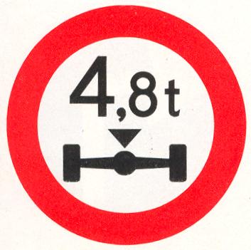 Gesloten voor voertuigen waarvan de aslast hoger is dan op het bord is aangegeven