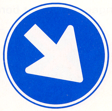 Gebod voor alle bestuurders het bord voorbij te gaan aan de zijde die de pijl aangeeft
