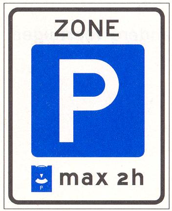 Parkeerschijf-zone met verplicht gebruik van parkeerschijf.