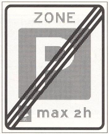 Einde parkeerschijf-zone met verplicht gebruik van parkeerschijf