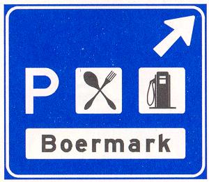 Beslissingswegwijzer langs autosnelweg voor de afgaande richting naar een verzorginsgsplaats, met de naam van de parkeerplaats en symbolen die de aard van de voorzieningen aangeven