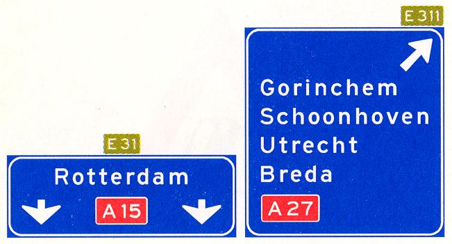 Hoge beslissingswegwijzer langs autosnelweg met rijstrookpaneel voor de doorgaande richting en aftakkingspaneel voor de afgaande richting, met interlokale doelen, routenummers autosnelwegen en Europese hoofdroutes
