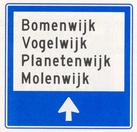 Wijkwegwijzer binnen de bebouwde kom, met wijknamen (in verkeersgebieden)